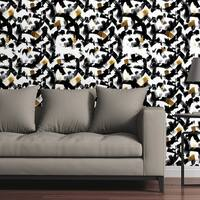 Circle Art Group Removable Wallpaper Tile - Gold Ink Strokes - Multi-color