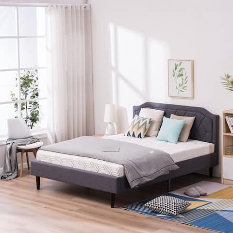 Upholstered Bed with Diamond Buckle Decoration Mattress Foundation Wood Slat Support