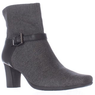 Aerosoles Harmonica Square Toe Ankle Strap Boots, Grey Wool