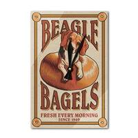 Beagle Bagels - Retro Ad - Lantern Press Artwork (Acrylic Wall Clock) - acrylic wall clock