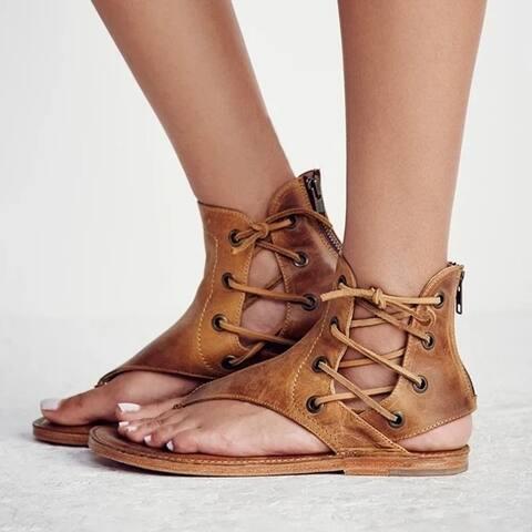 Womens Clip Toe Lace Up Gladiator Sandals Boho Summer Flat Beach Flip Flop Size