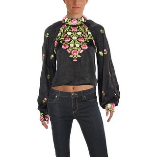Free People Womens Juniors Jessica Crop Top Embroidered Bishop Sleeves