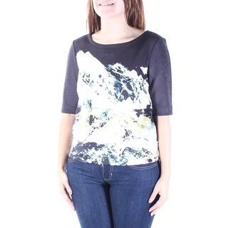 KIIND OF $69 Womens New 6474 Black Printed Jewel Neck 3/4 Sleeve Top S B+B