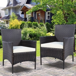 Charmant 2PC Chairs Outdoor Patio Rattan Wicker Dining Arm Seat With Cushions   Brown