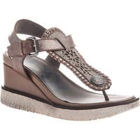 OTBT Women's Excursion Wedge Thong Sandal Grey Silver Leather