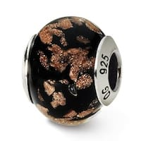 Italian Sterling Silver Reflections Black/Gold Bead (4mm Diameter Hole)