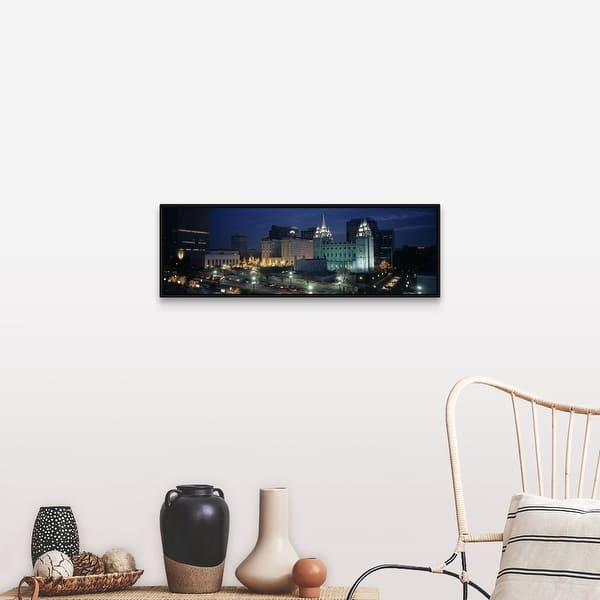 Temple Lit Up At Night Mormon Temple Salt Lake City Utah Black Float Frame Canvas Art Overstock 25511234