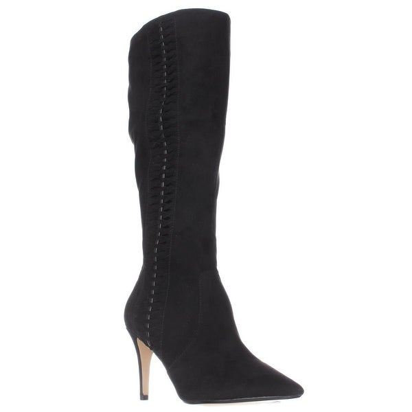 TS35 Romiina Woven Side Pointed Toe Knee High Dress Boots, Black