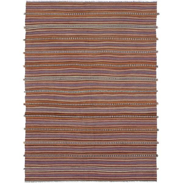 ECARPETGALLERY Flat-weave Bohemian Red Wool Kilim - 4'4 x 10'4. Opens flyout.