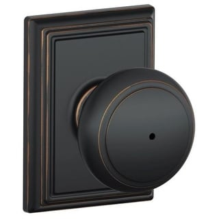 Schlage F40-AND-ADD Privacy Andover Door Knobset with the Decorative Addison Rose