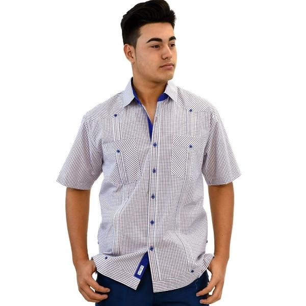 a6b5ff3c435 Shop Bohio Mens Cotton Plaid Cuban Guayabera (2) Pocket Shirt - Free  Shipping On Orders Over  45 - Overstock.com - 23139032
