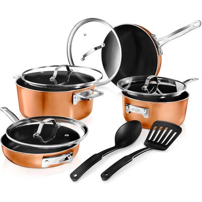 Gotham Steel Stackmaster Stackable Non Stick 10pc Cast Textured Cookware Set