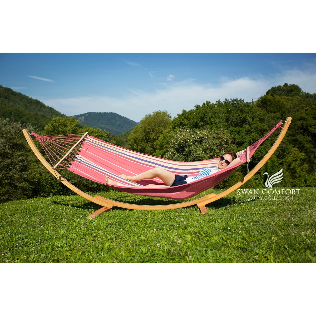 Swan Comfort Extra Heavy Duty Swing Cotton Hammock - Thumbnail 0
