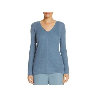 Eileen Fisher Womens Petites V-Neck Sweater Linen Long Sleeves - ps