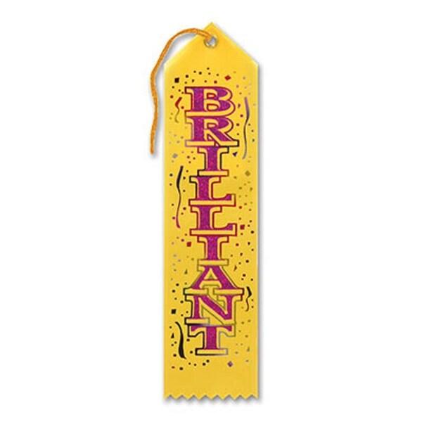"Pack of 6 Yellow ""Brilliant Award"" School Award Ribbon Bookmarks 8"" - N/A"