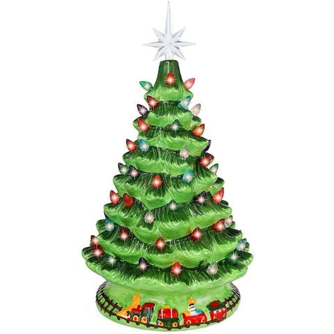 """Joiedomi 14.2 in. Tall White, Green & Red Ceramic Christmas Tree with Train - 9.7""""W x 9.6""""L x 14.2""""H"""