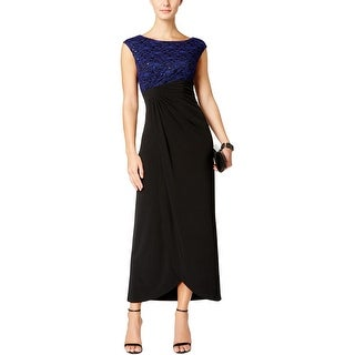 Connected Apparel Womens Semi-Formal Dress Sequined Lace Overlay