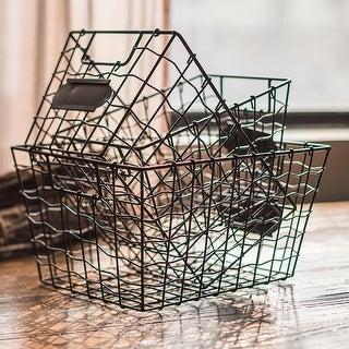 RusticReach Wire Basket Organizer with Label Holder