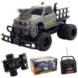 Costway 1/10 4CH RC Monster Truck Electric Remote Control Off-road Car All Terrain Toy - gray