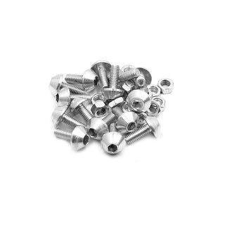 15Pcs M6 Aluminum Alloy Hex Socket Head Motorcycle Bolts Screws Nuts Silver Tone