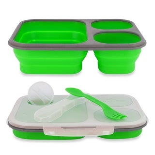 Lunch Kit, 3pc Meal Prep Containers Silicone Collapsible & Spork Utensil, Green