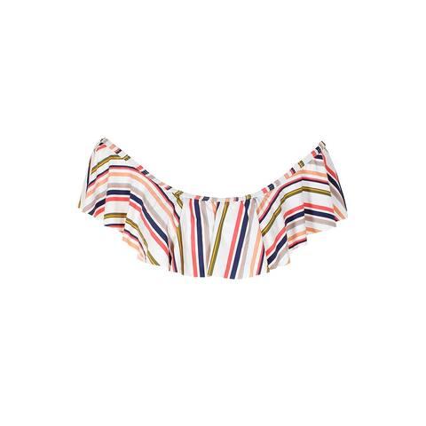 Spledid White Multi Sriped Off-The-Shoulder Bandeau Bikini Top XS