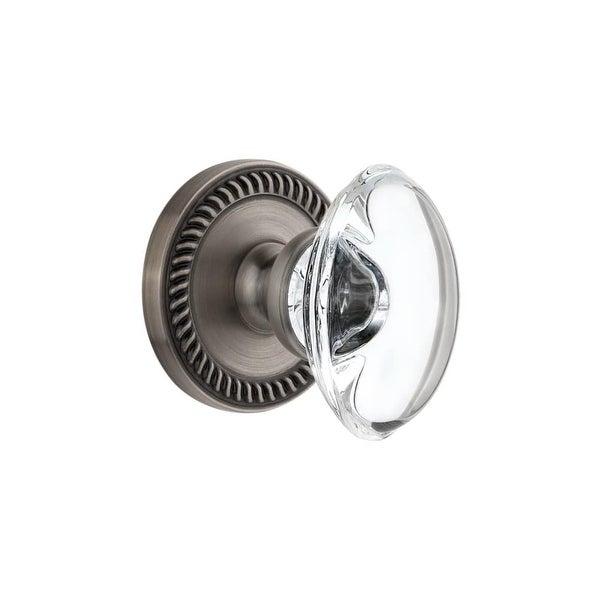 "Grandeur NEWPRO_PRV_234 Newport Solid Brass Rose Privacy Door Knob Set with Provence Crystal Knob and 2-3/4"" Backset"