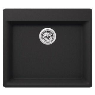 "Miseno MGR2421 Carolina 24"" Single Basin Drop In or Undermount Granite Composite Kitchen Sink - Basket Strainer Included"