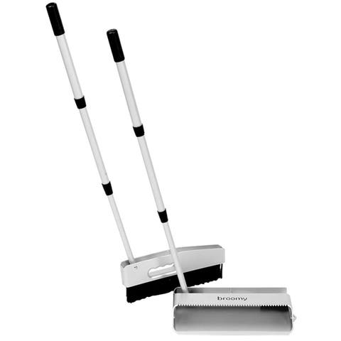 Micro Klen Broomy Broom and Long Handled Dustpan Set - Telescoping Handles - Silver and Black - 30.5 in.