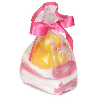 Raindrops Baby Girls Loved 5 Pc Wash Cloth And Rubber Ducky Set Cotton Candy One Size - One size