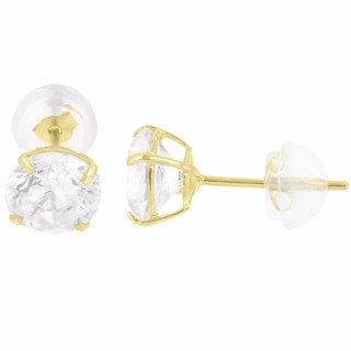 10k Yellow Gold Earrings Solitaire Lab Diamond Studs Round Cut