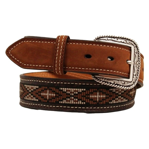 Ariat Western Belt Men Leather Aztec Cross Ribbon Inlay Brown
