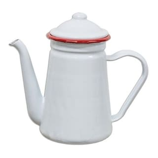 Red Rim Enamel Coffee Pot
