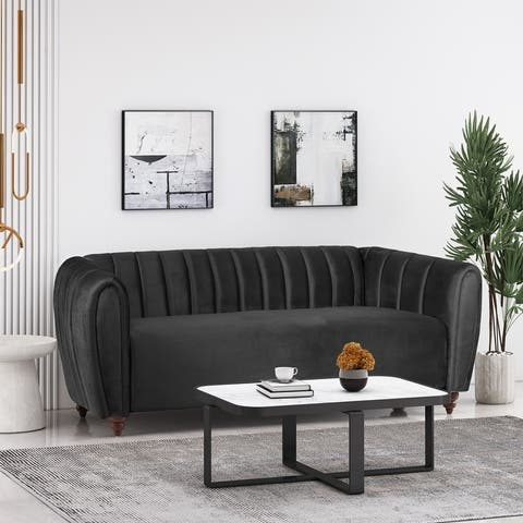Richland Modern Glam Velvet Channel Stitch 3 Seater Sofa by Christopher Knight Home