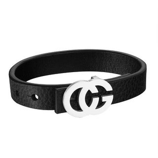 Stainless Steel CG Belt Buckle Design Black Leather Bracelet Wristband Hip Hop