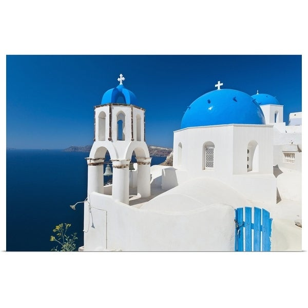 """Greece, Cyclades Islands, Santorini, Oia, Church with bell tower at coast"" Poster Print"