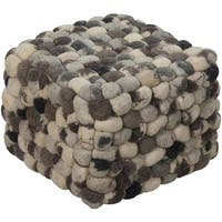 "18"" Midnight Black, Ivory and Gray Shag Checkerboard Wool Square Pouf Ottoman - Black"