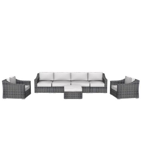 Cozy Corner Patios Luxury Series Garden Furniture  6 Seater Deep Seating Sectional Patio Furniture  7-Piece Outdoor Sectional