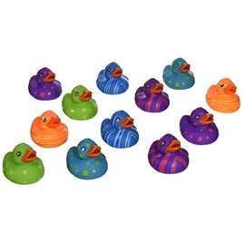 "Rhode Island Novelty 2"" Multi-Color Pattern Rubber Duck (12 Piece)"