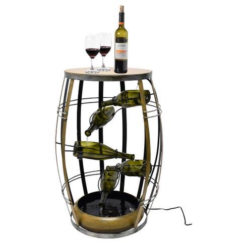 Vintage Metal Barrel Design Cascading Waterfall Floor Water Fountain with Tiering Wine Bottles Yard Art Decor