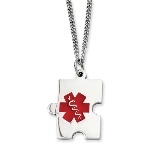 Stainless Steel Puzzle Piece Medical Pendant 20in Necklace (2 mm) - 20 in