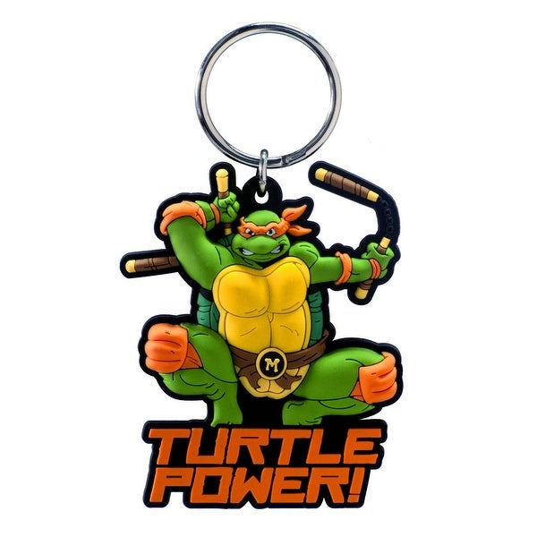 "Teenage Mutant Ninja Turtles Soft Touch PVC Key Ring: ""Michelangelo"" - Multi"