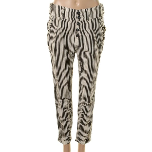 Free People Womens Casual Pants Striped Button Fly