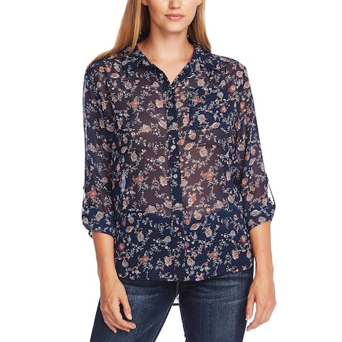 Vince Camuto Women's Ditsy Floral Shirred Shoulder Blouse Blue Size Large