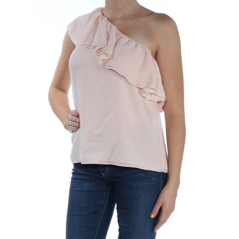 REBECCA TAYLOR Womens Pink Ruffled Asymmetrical Neckline Top Size 8