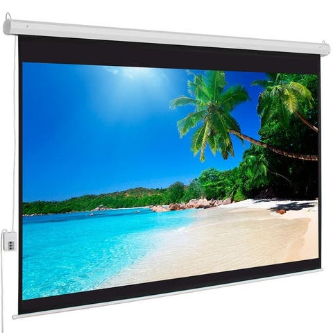 """100"""" 4:3 80"""" x 60"""" Viewing Area Motorized Projector Screen with Remote Control Matte White"""