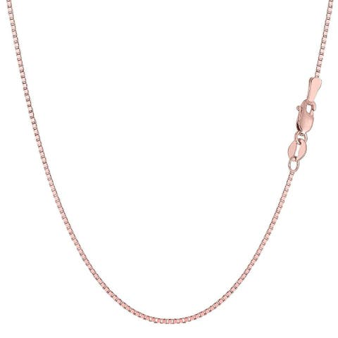 Mcs Jewelry Inc 14 KARAT ROSE GOLD BOX CHAIN NECKLACE (0.8mm) THIN AND STRONG