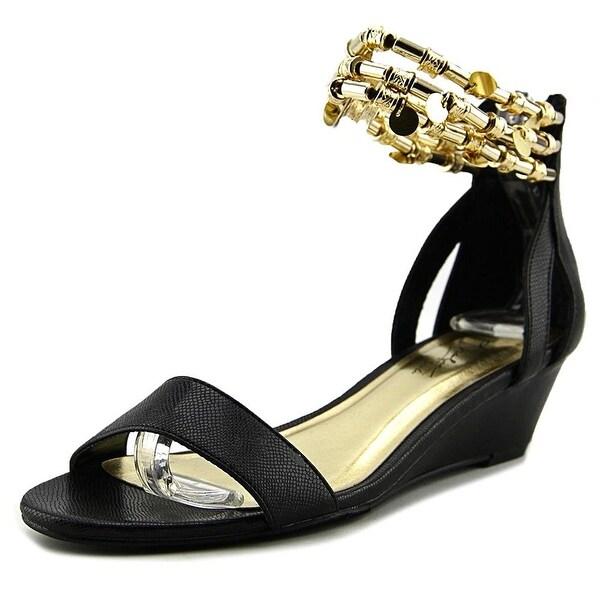 Thalia Sodi Lordes Women Open Toe Synthetic Black Wedge Sandal
