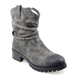 Eyekepper Women's Fully Fur Lined Mid-Calf Slouchy Boot with Multi Buckle Straps Grey