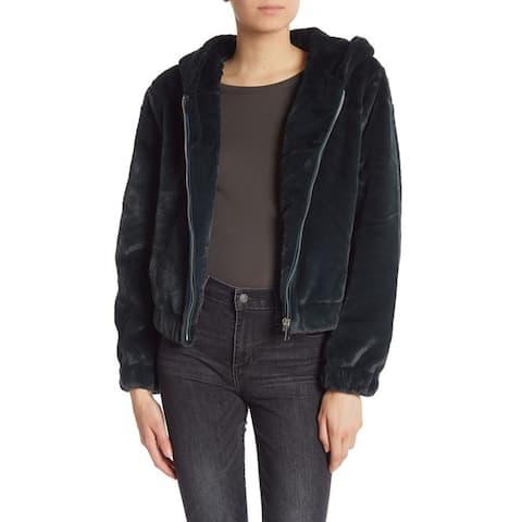 Bagatelle Hooded Faux Fur Teddy Jacket, Emerald, Medium